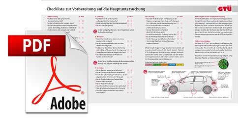 Checkliste zur Vorbereitung auf die Hauptuntersuchung (HU) zum Download als PDF